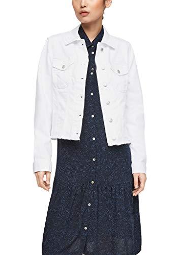 s.Oliver Damen Colored Denim-Jacke mit Fransen white 38