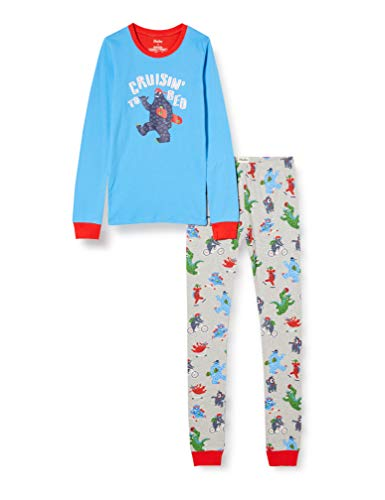 Hatley Organic Cotton Long Sleeve Appliqué Pyjama Set Juego de Pijama, Monstruos de Regreso a la Escuela, 2 años para Niños