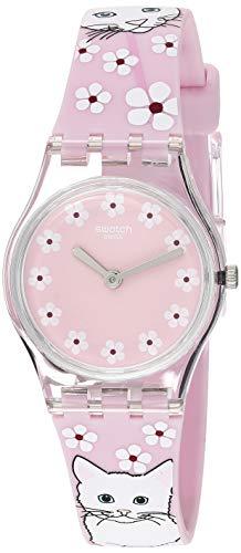Swatch LP156 - Reloj de pulsera para mujer (cuarzo, correa de silicona, 12 relojes), diseño con texto 'I Love Your Folk', color rosa