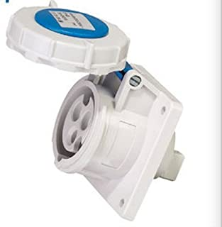 IEC 60309 High Power Receptacle, IP67, Two Pole, Three Wire, 32A Rating, 230V Voltage, Blue 6 Hour Designation, Panel Mounted Socket, LZ230(min order of 10)