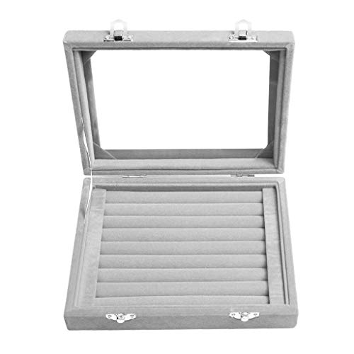 PIKAqiu33 7 Slot Velvet Jewelry Rings Display Tray Earring Storage Case Jewelry Storage Box, Home & Garden, for Xmas Day and New Year (Gray)