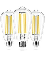 ST64 Vintage gloeilamp, LOHAS E27 ledlamp, 15 watt vervangt 140 watt, filament, 1500 lumen, 2700 K warm wit retro Edison, niet dimbaar, glas, 230 V, verpakking van 3 stuks