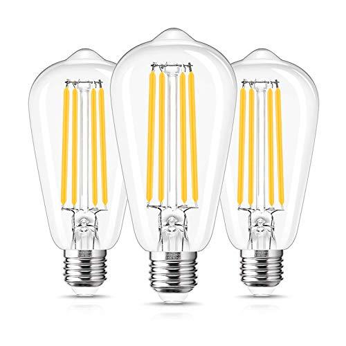 Lampadina Led E27 a Filamento, 15W Equivalenti a 140W, Luce Bianca Calda 2700K, 1500lm, Non Dimmerabile, Confezione da 3