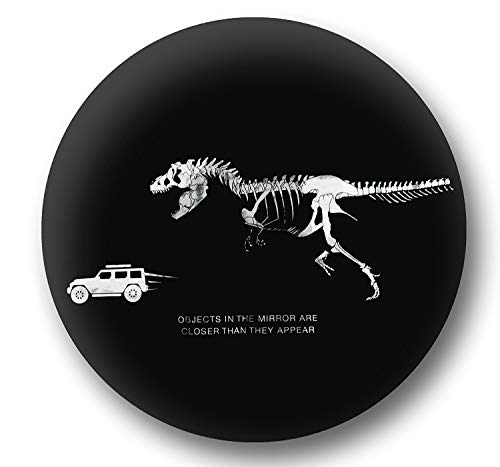 Jeep Spare Wheel Tire Cover [Black Leather Wrangler Accessories] UV Resistant, Heavy Duty, Non-Scratch Soft Back - Personalized with T-Rex Chasing Jeep - fits Grand Cherokee, Liberty, Renegade, SUV