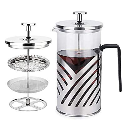 French Press Coffee Maker, Kitchenexus 304 Stainless Steel Coffee Press & Tea Maker, Portable Glass Coffee Press with 4 Filter Screens 32oz/1000ML, Ideal for Camping Travel