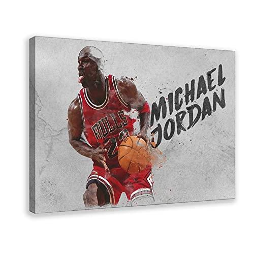 Póster de Michael Jordania famoso de la estrella del baloncesto de la lona del dormitorio, decoración del paisaje de deportes, decoración de la oficina, marco de regalo de 40 x 60 cm