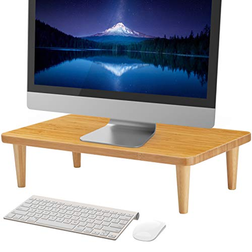 MaxGear Monitor Stand Riser,16 inch Wood Bamboo Computer Monitor Stands for Home Office Business with Sturdy Platform,PC Desk Stand for Keyboard Storage & Multi-Media Laptop Printer, 1 Pack