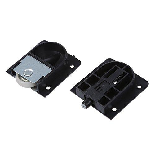 SODIAL(R) Rodillo de puerta deslizante Rueda de 25 mm diametro placa de plastico negro de armario