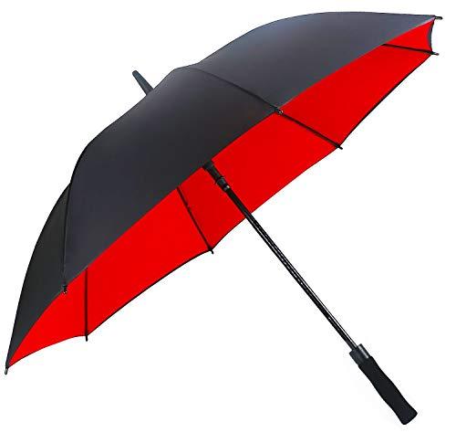 Superbison Grande Ombrello da Golf Doppio Strato 155cm/145cm ombrelli (Perimetro di 155cm / Diametro di 132cm, Doppio Strato Rosso)