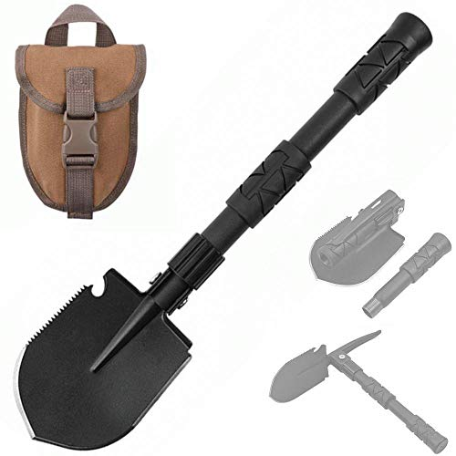 Yeacool Portable Folding Shovel, Small Compact Pickaxe with Carrying Pouch, Military Entrenching Survival Multitool,Tactical Spade for Camping Hiking Digging Emergency