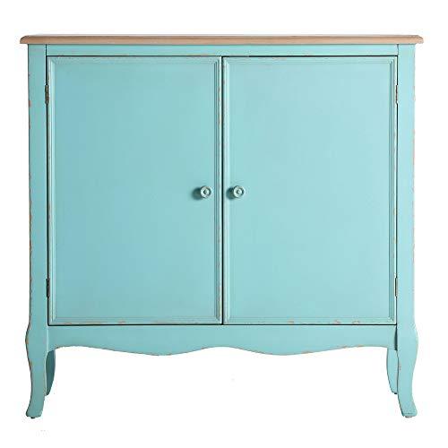 Lastdeco Consola Mueble Recibidor. Mueble Auxiliar Entrada Madera. Aparador Salon Vintage. Color Azul Celeste. 2 Puertas. Estilo Provenzal. Modelo Leiden. 90 x 35 x 86 cm