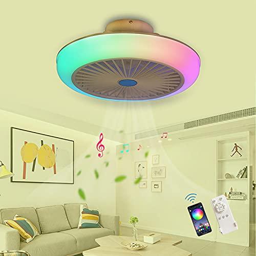 RGB Ventilador Techo Con Luz Silencioso Wifi, Ventilador De Techo Con Luz Y Mando A Distancia Colores, Ventilador De Techo Con Luz Inspire Colores Lampara Ventilador Techo 45CM,A