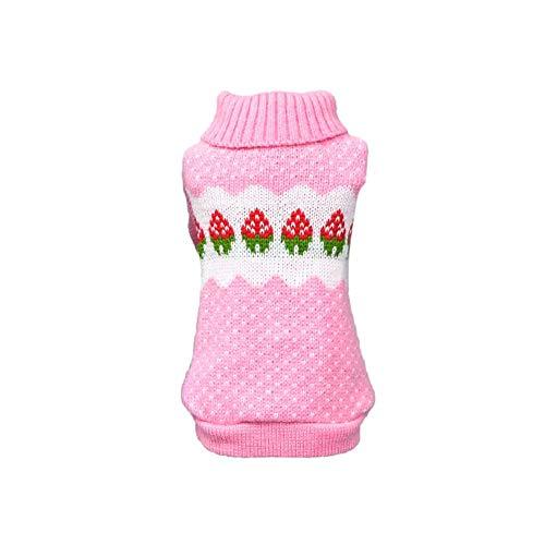 Etophigh huisdier aardbeien stippen patronen trui voor kleine middelgrote honden, puppy herfst winter kostuum Teddy tops jas, M, roze