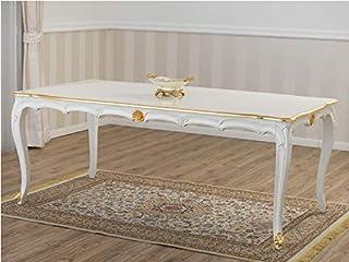 SIMONE GUARRACINO LUXURY DESIGN Table à Manger Nathalie Style Baroque Décapé rectangulaire Ivoire et Feuille Or 205 x 105 cm