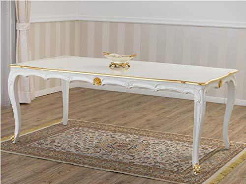 SIMONE GUARRACINO LUXURY DESIGN Mesa de Comedor Nathalie Estilo Barroco Decape Rectangular Color Marfil Detalles Hoja Oro cm 205 x 105