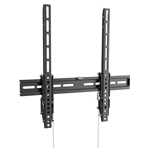 RICOO R01-11 TV Wandhalterung Neigbar Flach Universal 32-65 Zoll (81-165cm) Fix Curved LCD LED Fernseher-Halterung bis VESA 400x400 Schwarz