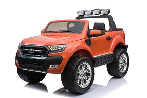 ES-TOYS Kinderfahrzeug - Elektro Auto Ford Ranger, Modell - lizenziert - 2X 12V7AH Akku,4 Motoren 2,4Ghz MP4 Ledersitz Eva 2 Sitzer (Rot)*