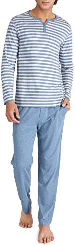 DAVID ARCHY Men s Cotton Heather Striped Sleepwear Long Sleeve Top Bottom Pajama Set Heather product image