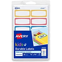 60-Count Avery 0.75 x 1.75 Inch Durable Kids Gear Labels (Assorted) (Neon)