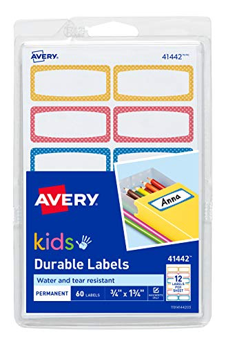 Avery 0.75 x 1.75 Inches Durable Labels for Kids Gear, Assorted, Pack of 60 (41442),Neon