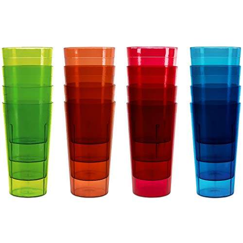 Plastic Tumblers Drinkware Glasses Cups - Acrylic Tumbler Set of 16 Break Resistant 20 oz. in 4 Assorted Colors Restaurant Quality Tumbers Dishwasher Safe and BPA Free by Kryllic