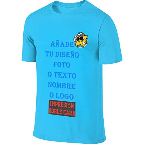 Hombre Camiseta Personalizada con Foto Delantera y Trasera con Cuello Redondo Manga Corta de Algodón (Azul Claro,XXL)