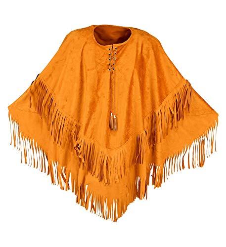 shoperama Brauner Unisex Fransen-Poncho Wildleder-Optik für Hippie Indianer Indianerin Cowboy Cowgirl Gaucho
