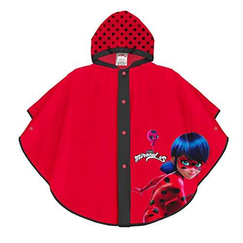 PERLETTI Mantella Pioggia Disney Miraculous Ladybug - Poncho Impermeabile Bambina - Antipioggia con Cappuccio e Bottoni - Dettagli Neri con Immagine Ladybug su Sfondo Rosso - PVC (Rosso, 3/6 Anni)