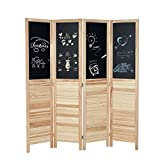 Esright 5.7 FT Room Divider, 4 Panel Paulownia Wood Louvereed Room Divider Panels with Chalkboard, Freestanding Partition Wall Dividers for Living Room, Office, Beige