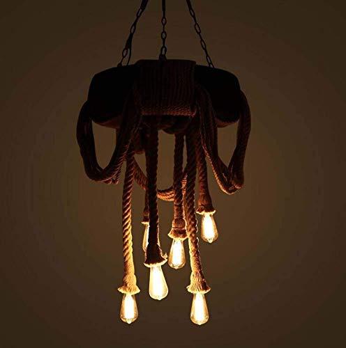miwaimao Chandelier - Colgante de cuerda de cáñamo con 6 cabezales, lámpara de araña vintage, cuerda de cáñamo y colgante de bambú