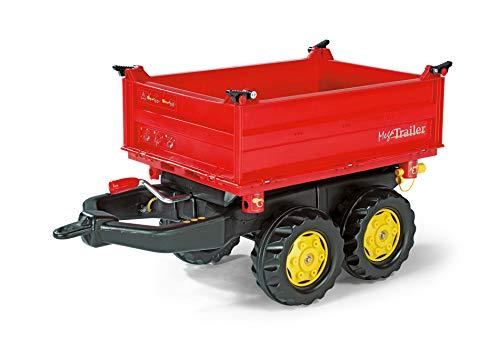 Rolly Toys 123001 rollyMega Trailer | Anhänger in 3 Richtungen kippbar, mit Kurbel und Heckkupplung | Kippanhänger / 2-Achsanhänger für rolly toys Traktoren | ab 3 Jahren | Farbe rot