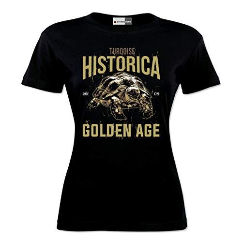 Camiseta para mujer con diseño de tortuga dorada y ágata Negro S