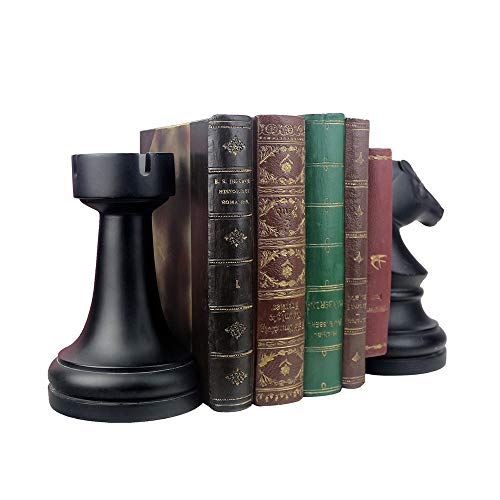 Product Image 5: Decorative Bookends, Unique Book Ends – Supports for Heavy Books, Home Decor Suitable for Office, Home, 7(L) x4(W) x7(H) inch, Black,1Pair/2Piece (Chess bookend)
