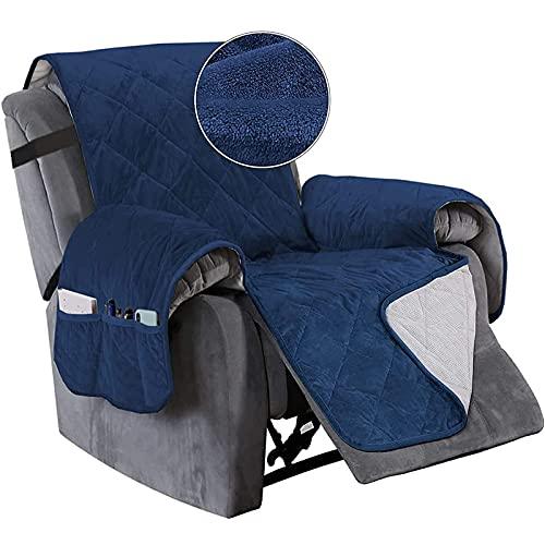 YSLLIOM Funda de Butaca Orejera y Sillón Reclinable Cubre Sofá Reversible y Acolchado Protege del Desgaste Diario y del Paso de Mascotas (Sillón reclinable (28 Pulgadas),Azul Marino)