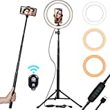 "10"" Selfie Ring Light with Tripod Stand & Smart Phone Holder for Live"