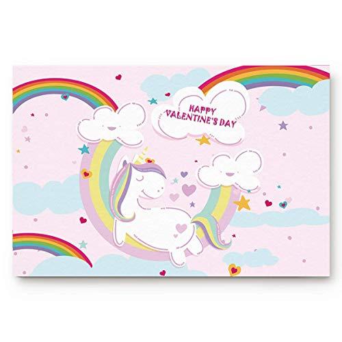 Feliz día San Valentín Lindo unicornio esteras puerta