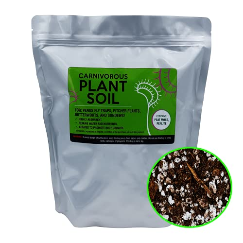 Venus Fly Trap Soil for carnivorous plants, 4 qts, sphagnum peat moss, perlite for live or seed pitcher, sundew, butterwort, flytrap plant, spagnum pete peet retains food, for pot or terrarium kit mix