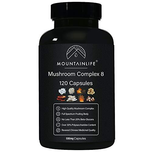 Mountainlife Mushroom Complex 8 Capsules, 120 Capsules, 30% Polysaccharides, 15% Beta Glucans, Chaga, Reishi, Lions Mane, Cordyceps, Maitake, Shiitake, Tremella, Oyster, Vegan High Strength