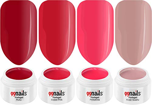 99 Nails Gels UV Set – Pretty Pink 5 ml pack de 4 (4 x 5 ml)