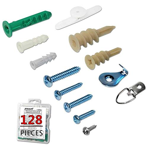 Ansoon Plastic Self Drilling Drywall and Hollow-Wall Anchor and Screw Assortment Kit, Anchors, Screws, Wall Anchor Hooks, and Toggle Bolts All 128Pcs