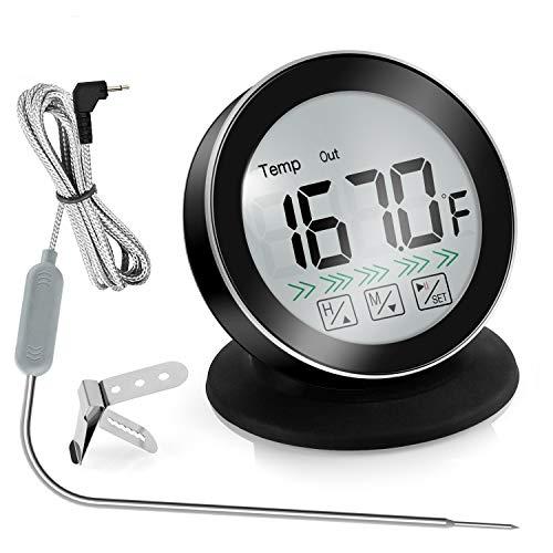 iKALULA Fleischthermometer, Digitales Grill-Thermometer 3 in 1 Bratenthermometer Ofenthermometer mit Timer, LCD Display und 1 Edelstahlsonden Küchenthermometer für Grills, BBQ, Küche (Schwarz)