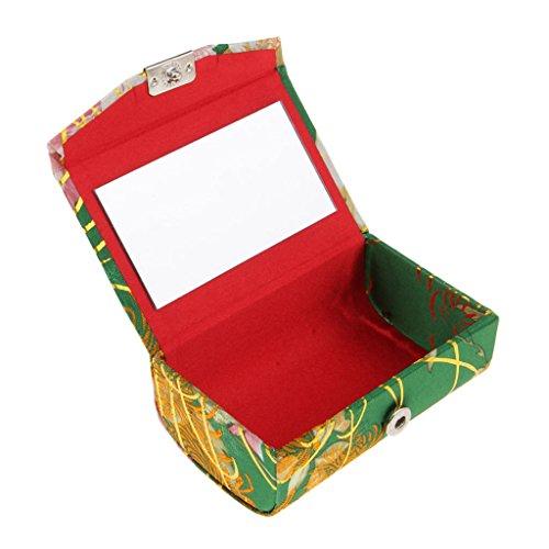 Baoblaze Etui à Rouge à Lèvres en PVC Brocart Brodé Support Miroir à l'Intérieur à Fermeture - #W