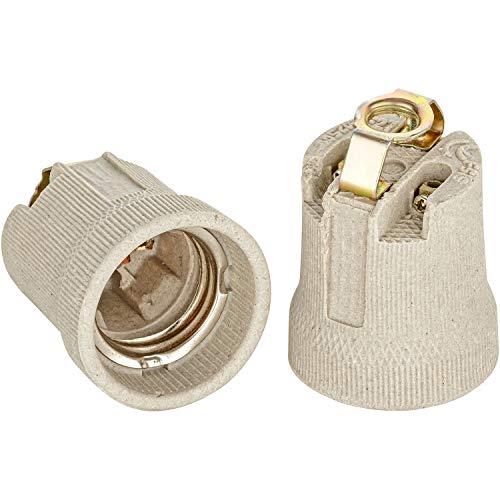 E27 Keramik Fassung mit Befestigungsbügel mit M10x1 Innengewinde Edison Gewinde RoHS bis 250V und 4A von ISOLATECH; (hier: 2 Stück)