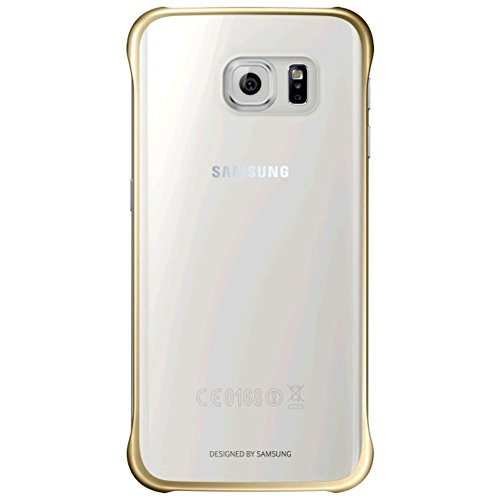 Samsung Slimline Clip-On Hülle Clear View Case Cover für Samsung Galaxy S6 Edge, Metallic gold/transparent