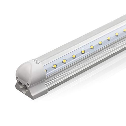 OUBO 120cm LED Leuchtstoffröhre komplett Set mit Fassung kaltweiss 6000K 18W 1950lm Lichtleiste T8 Tube mit klarer Deck