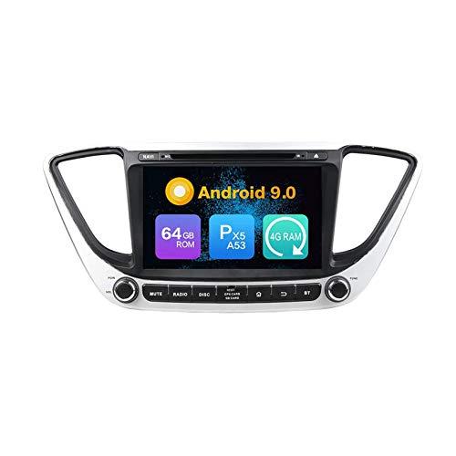 JIBO Android 10 Unidad Principal Navegación GPS Auto Radio HD Pantalla Táctil Reproductor Multimedia DVD Navegación por Satélite Estéreo para Automóvil SWC Bluetooth para Verna 2017 Receptor Video