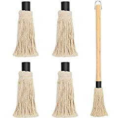 High Quality Material: The grill mop is made of the cotton cord, which natural fiber mop holds your basting liquid better than any silicone or synthetic material. Size Information: The total length of barbecue mop is 56cm/18inch, the length of mop he...