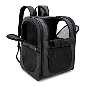 apollo walker Pet Carrier Backpack for Large/Small Cats and Dogs, Puppies, Safety Features and Cushion Back Support for Travel, Hiking, Outdoor Use (Black)