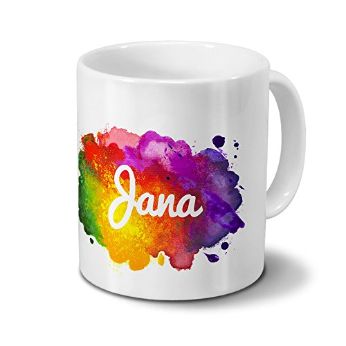 Tasse mit Namen Jana - Motiv Color Paint - Namenstasse, Kaffeebecher, Mug, Becher, Kaffeetasse - Farbe Weiß