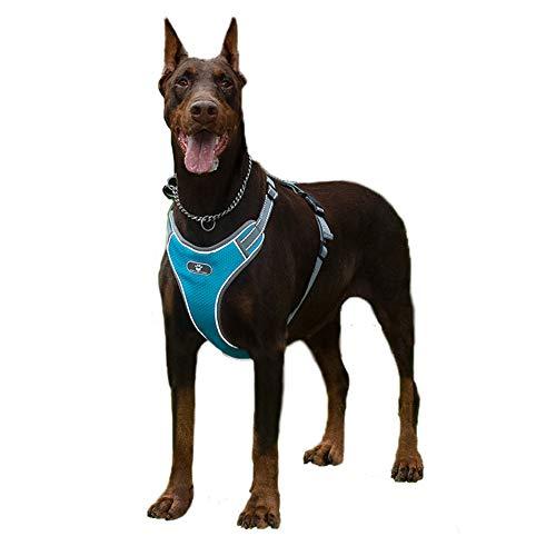 Feimax Hundegeschirr für Große Hunde Einstellbare Anti Zug Geschirr Reflektierend Brustgeschirr No Pull Dog Harness für Kleine Mittelgroße Hunde, Weich Mesh Atmungsaktiv Brustgeschirr (L, Blau)